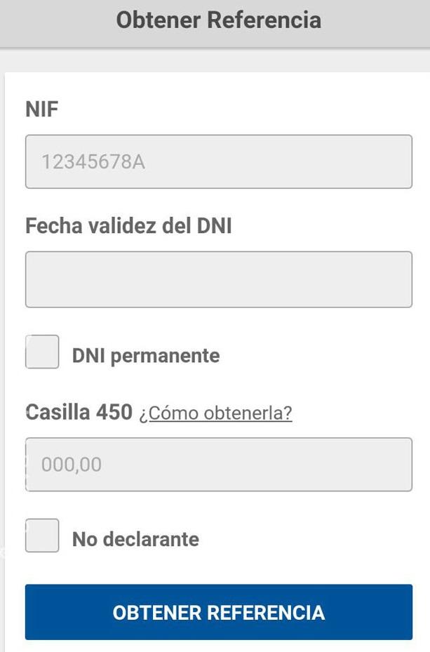 obtener número de referencia declaración renta app móvil