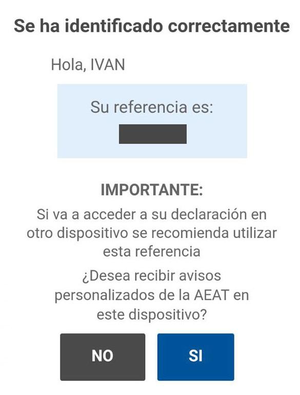 proceso identificación declaración renta app móvil